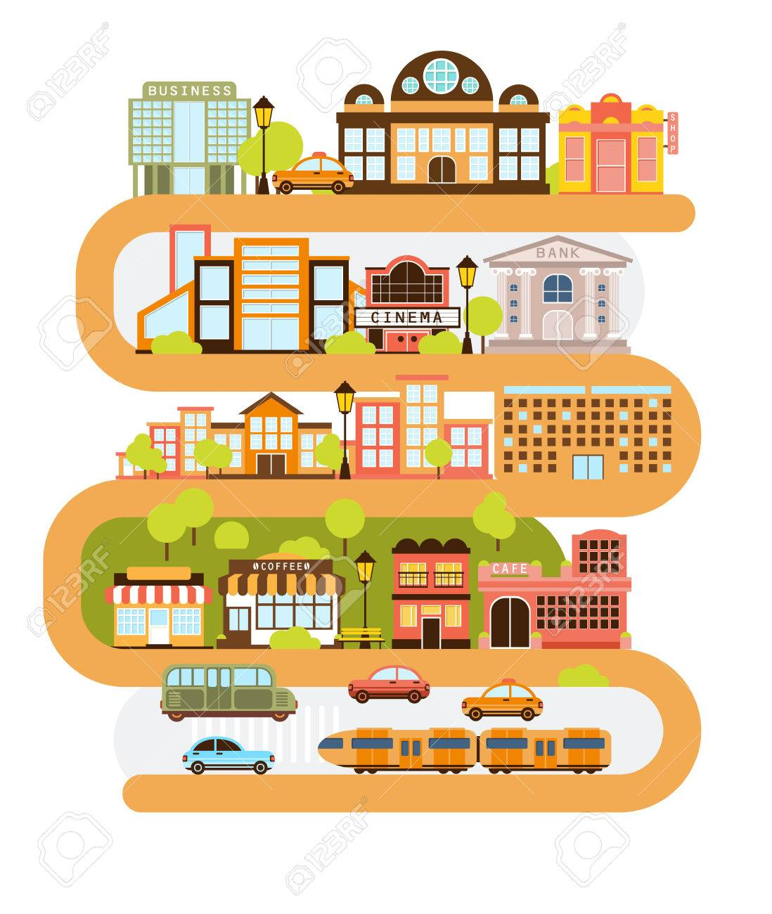 City Infrastructure And All The Urban Buildings Lined With The Curved Orange Line In Graphic Illustration. Modern Town Architecture and Common Services Separated In Blocks One On Top Of Another. Foto de archivo - 65541802