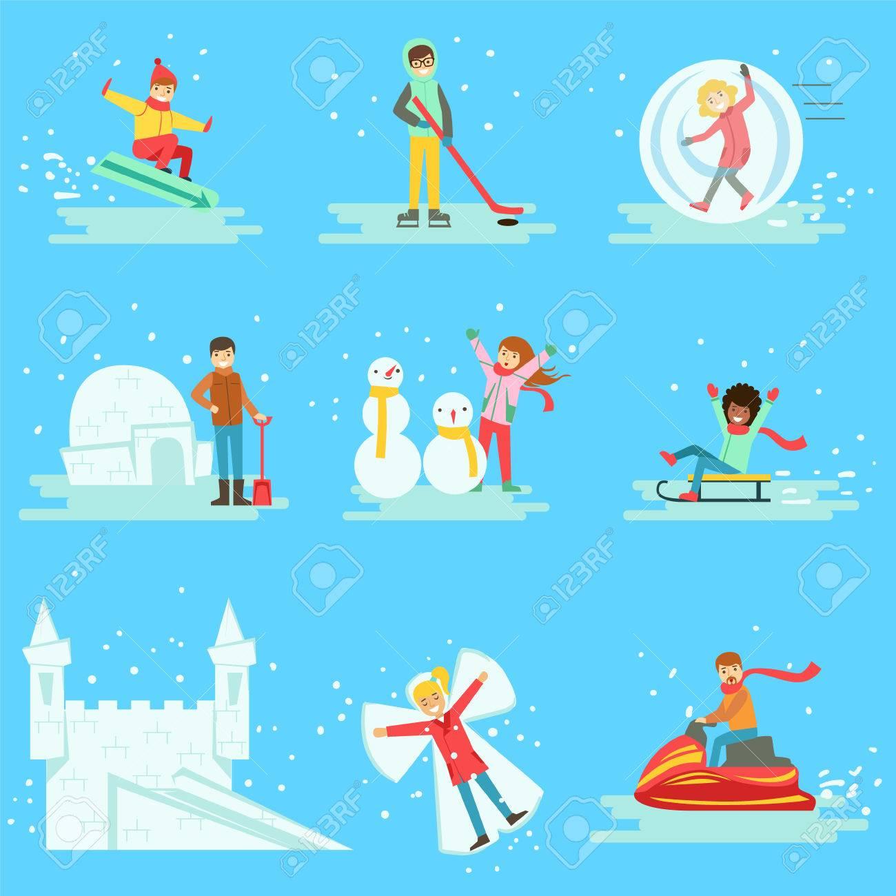 イラスト集冬の雪の中で楽しい時を過す人々青の背景に異なる冬季野外
