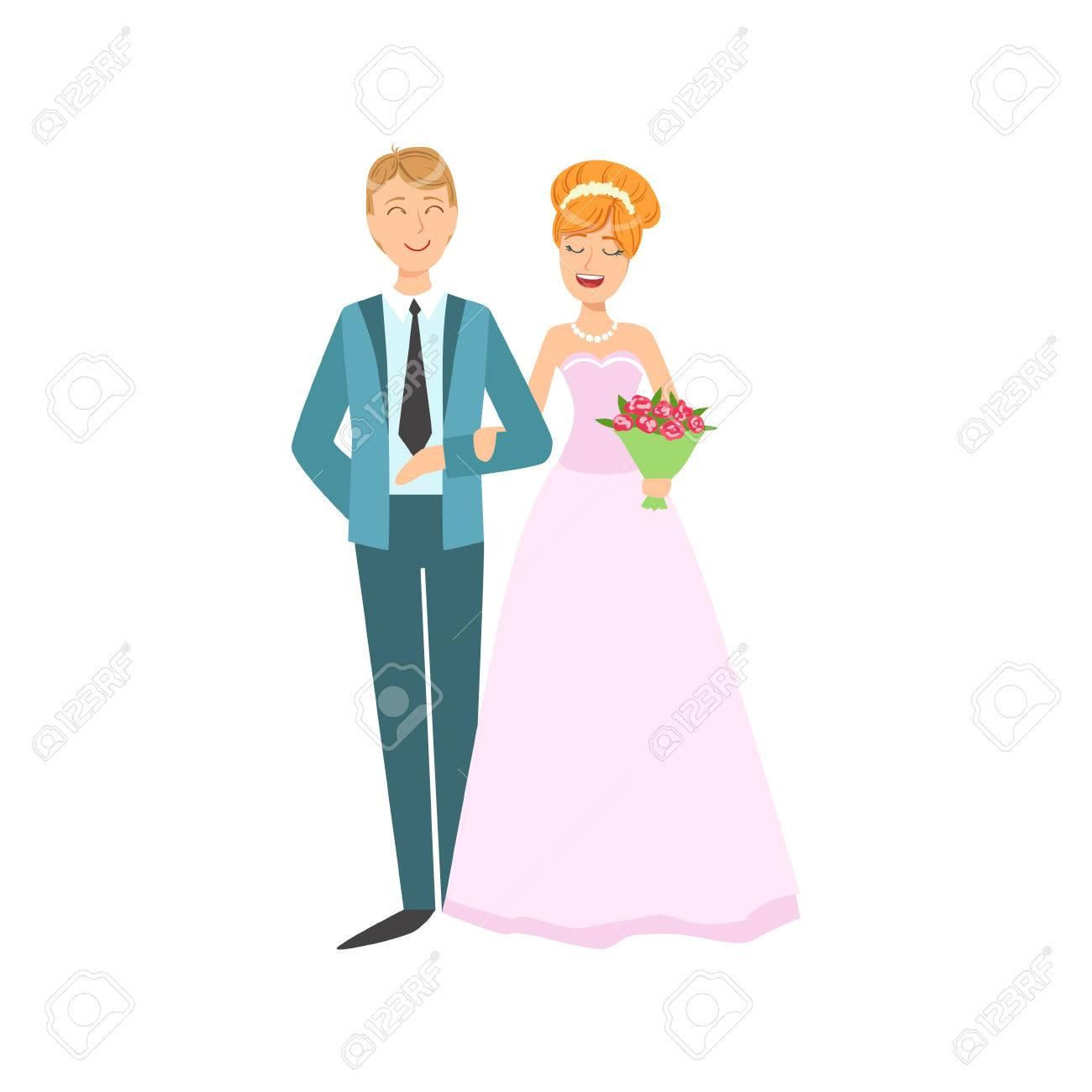 Novia Roja Cabeza Y El Novio Recién Casado En Color De Rosa Vestido ...