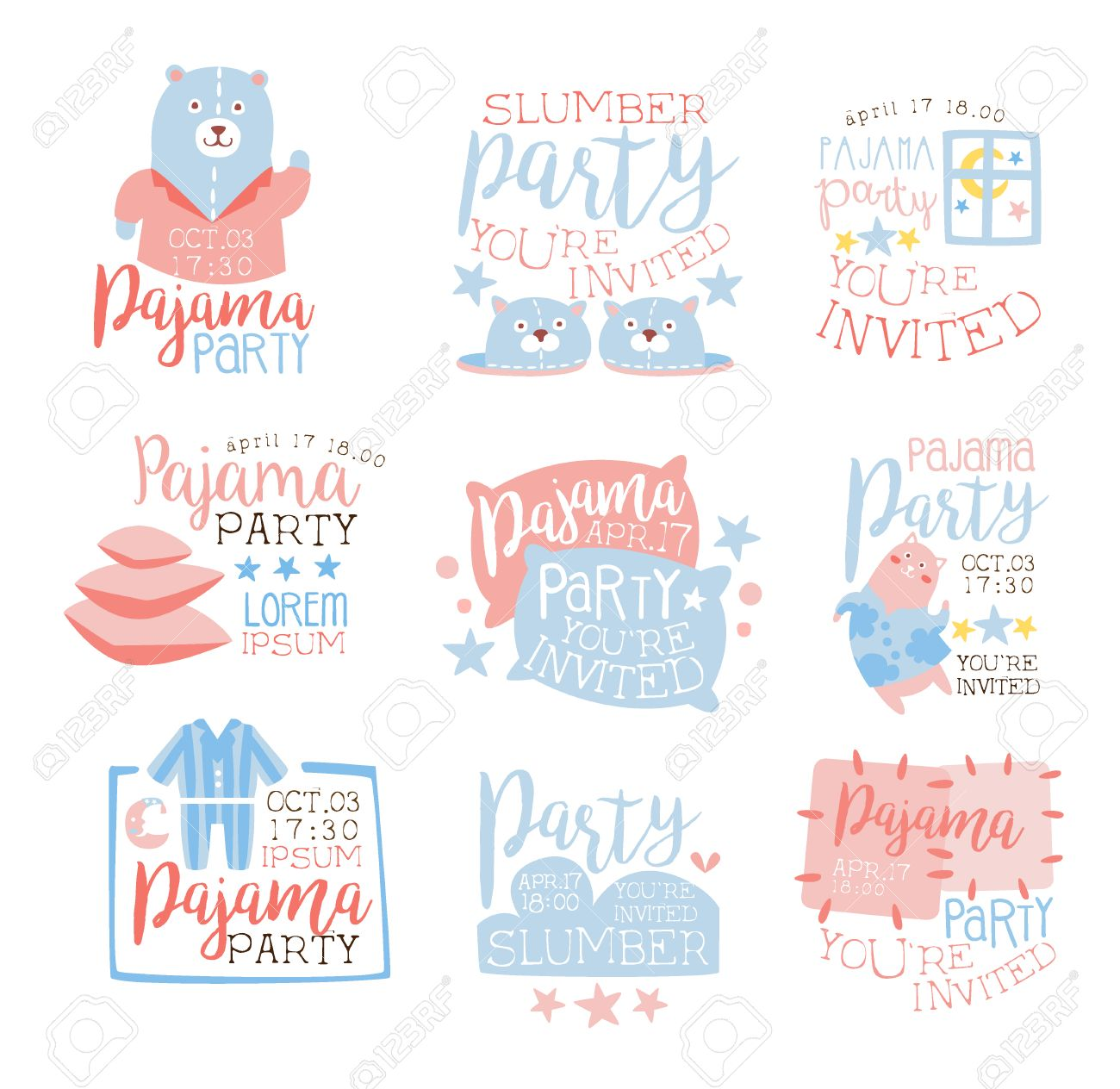 Pink And Blue Girly Pajama Party Invitation Templates Set Inviting ...