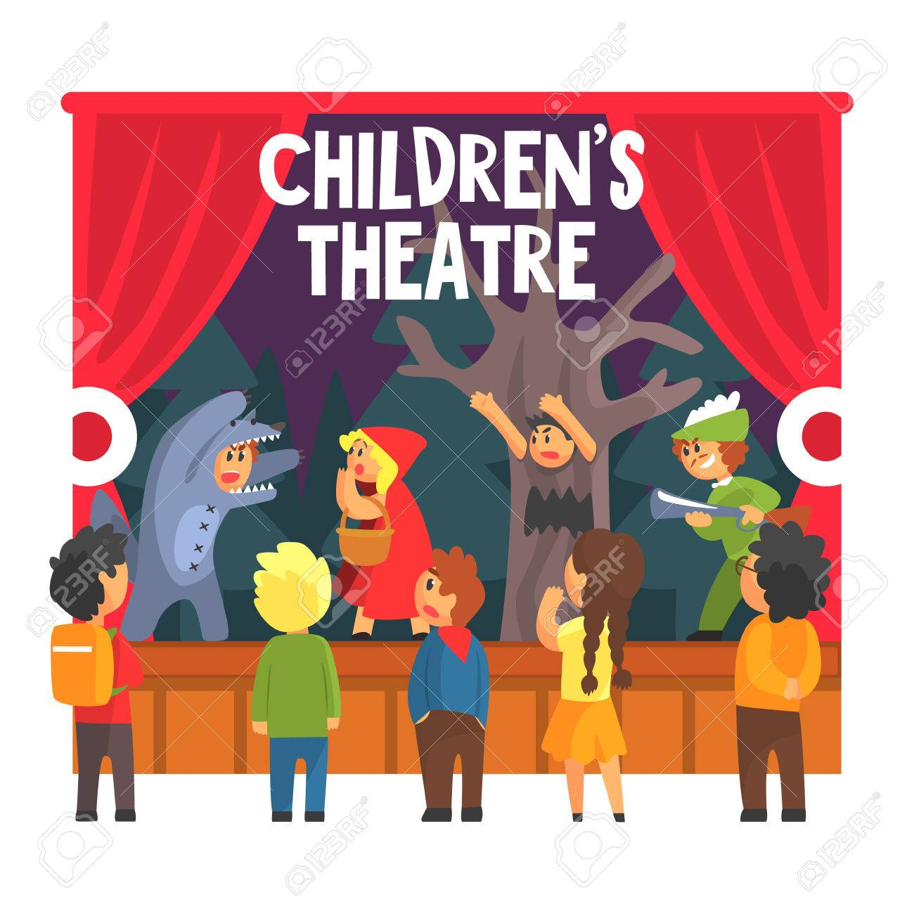 Children Actors Acting On Stage Of School Theatre In A Play For Royalty Free Cliparts Vectors And Stock Illustration Image 68717326