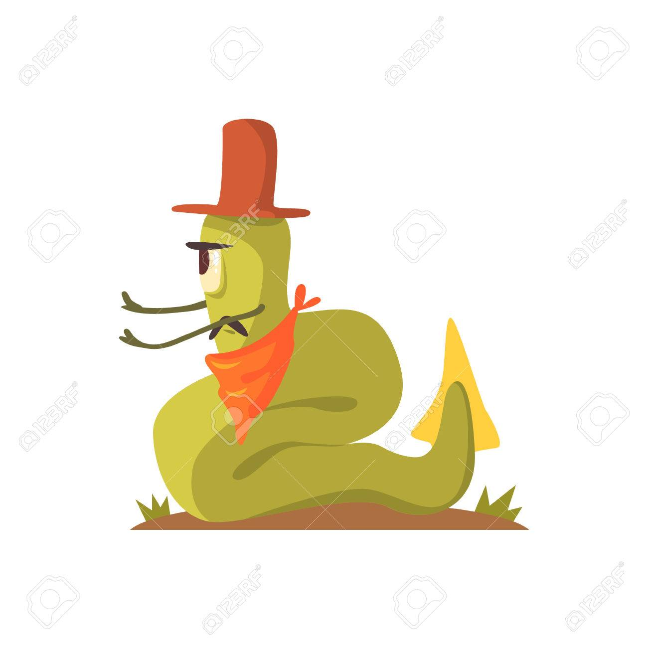 Green Giant Snake Monster In Cowboy Hat And Bandana Sitting At