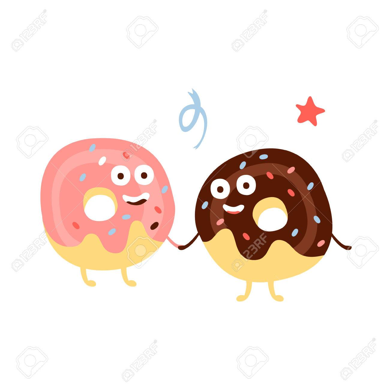 Two Doughnuts Holding Hands Children Birthday Party Attribute Cartoon Happy Humanized Character In Girly Colors