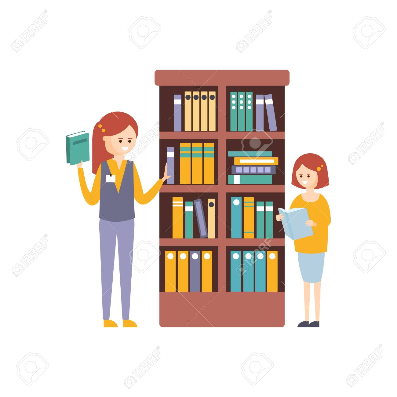 Library Or Bookstore With Two Girls Choosing Books On Bookshelf Flat Primitive Illustration