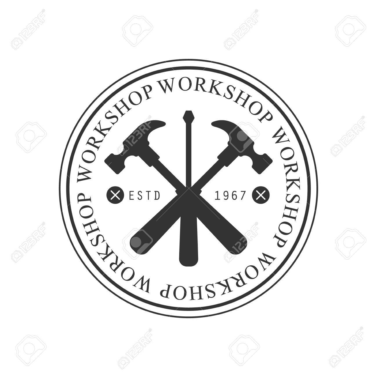 Crossed Hammers And Screwdriver In Round Frame Premium Quality ...