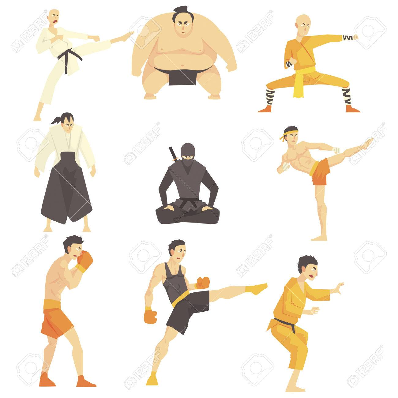 Martial Arts Fighters Performing Different Technique Kicks Set Of Asian  Fighting Sports Professional In Traditional Fighting Outfits Sportive  Clothing.
