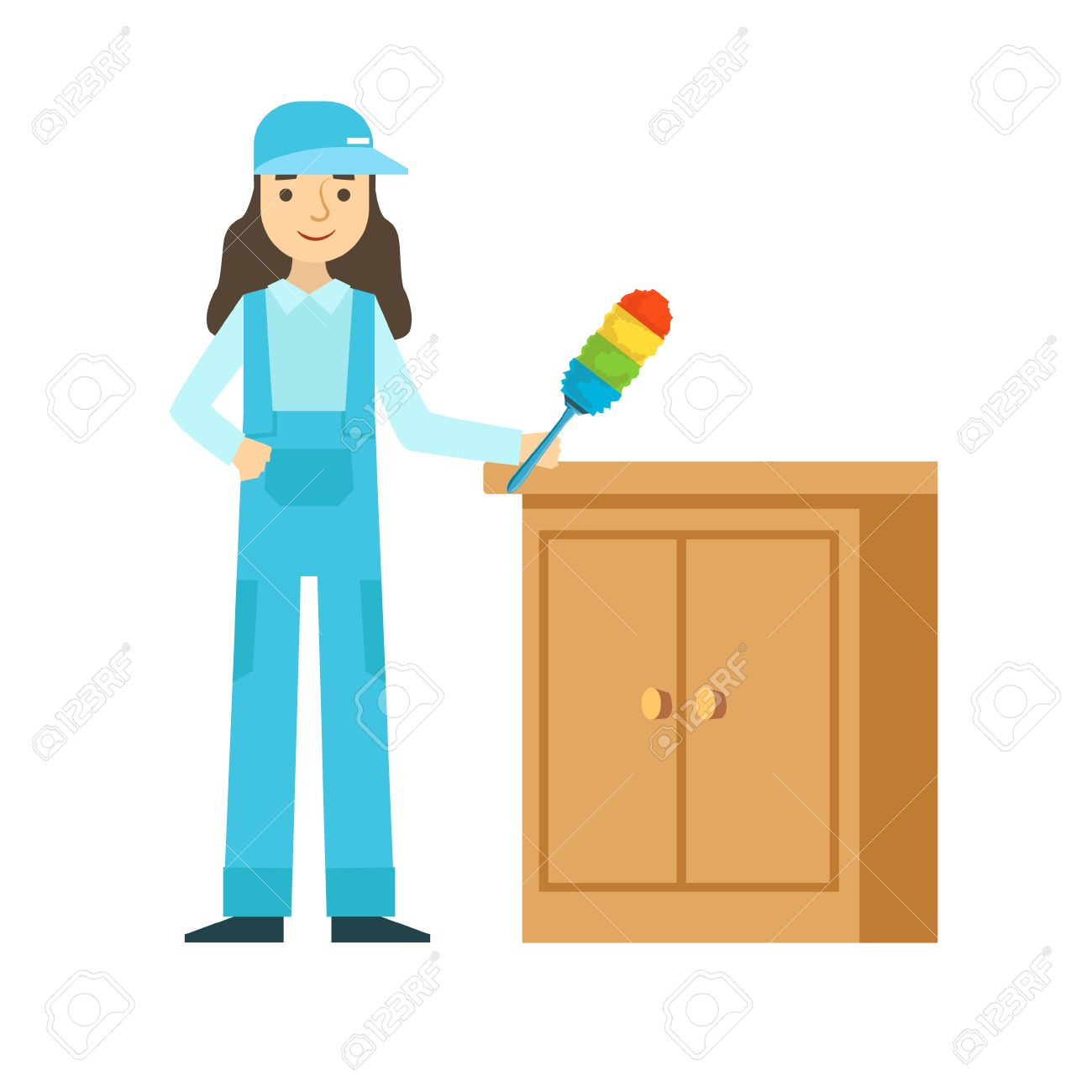 dusting furniture. Vector - Woman Dusting The Furniture, Cleaning Service Professional Cleaner In Uniform Household. Person Working Housekeeping At Work Furniture F