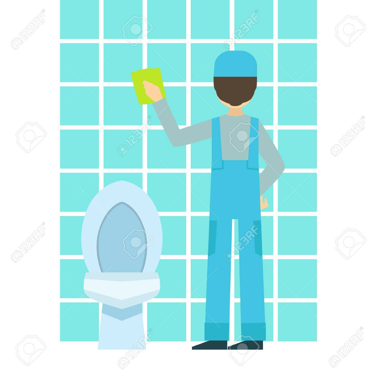 Man Washing Tiles In Bathroom Cleaning Service Professional - Professional bathroom cleaning services