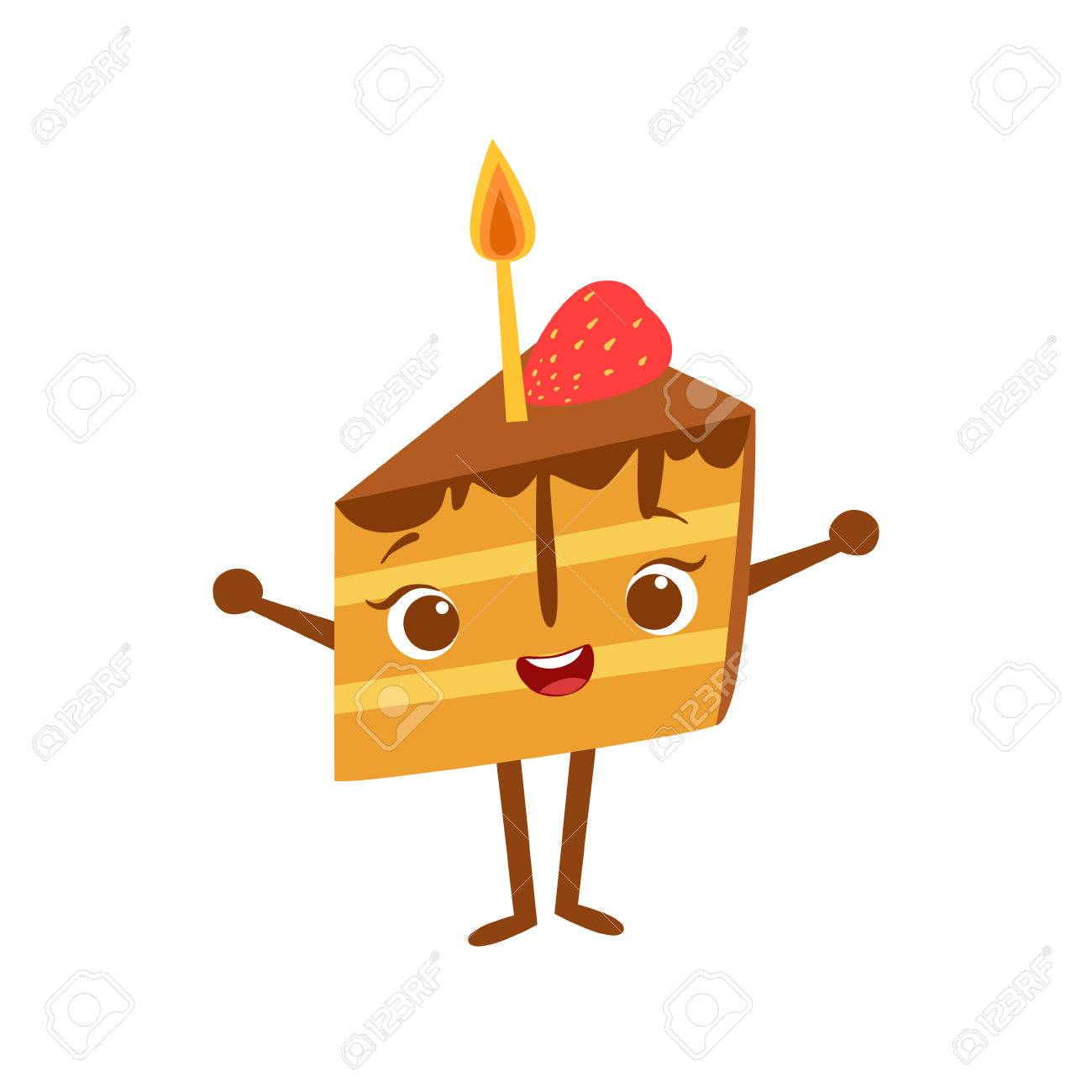 Piece Of Cake With Candle Kids Birthday Party Happy Smiling Animated