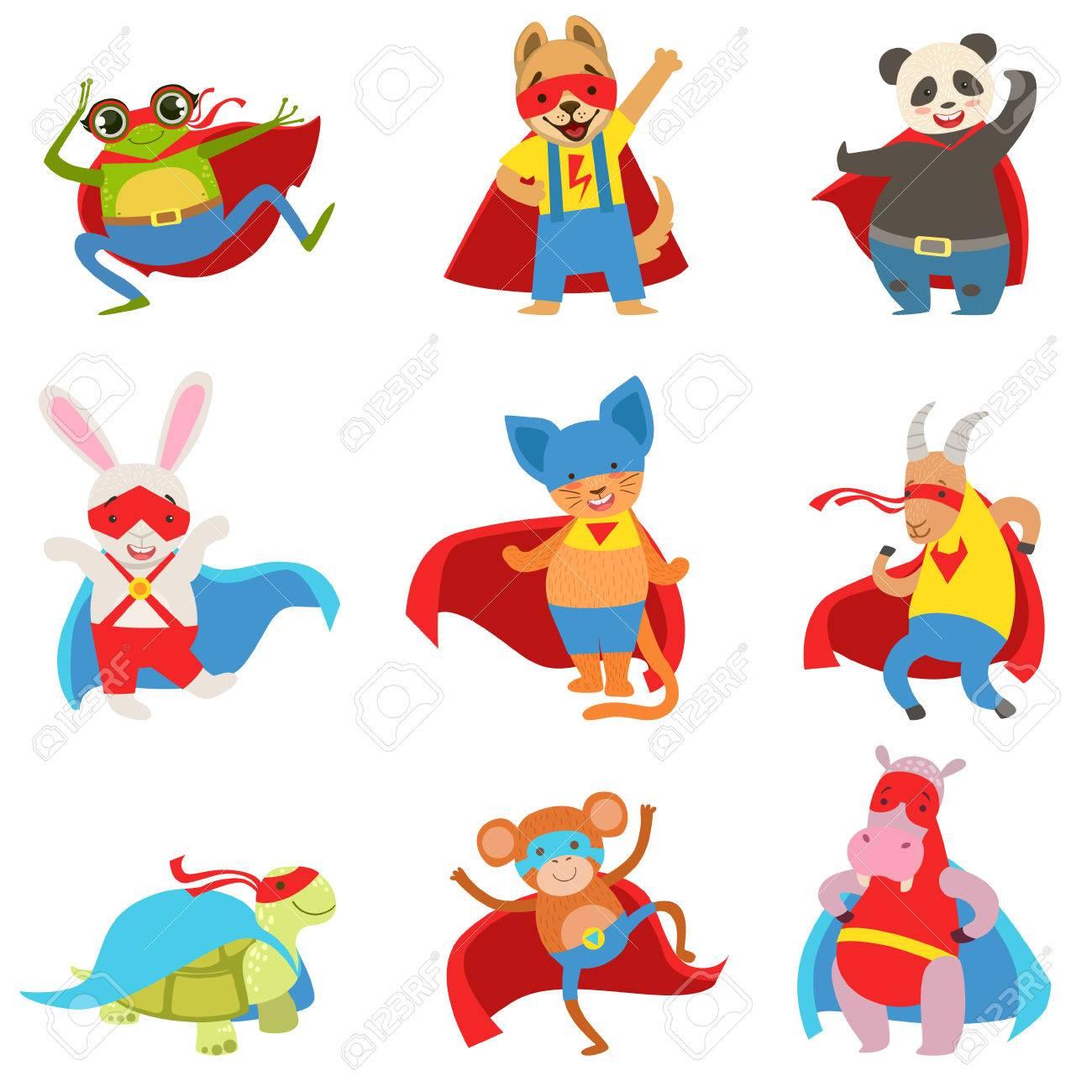 Animals dressed as superheroes with capes and masks set childish flat comic characters isolated on