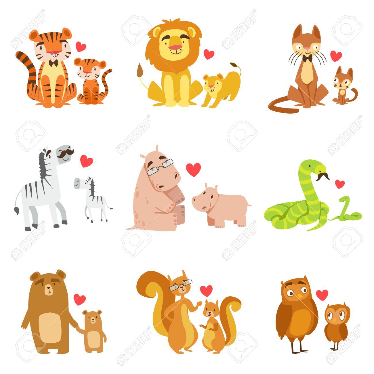 excellent foto de archivo pequeos animales y sus paps conjunto de coloridos infantiles style animales de dibujos animados en parejas padrehijo