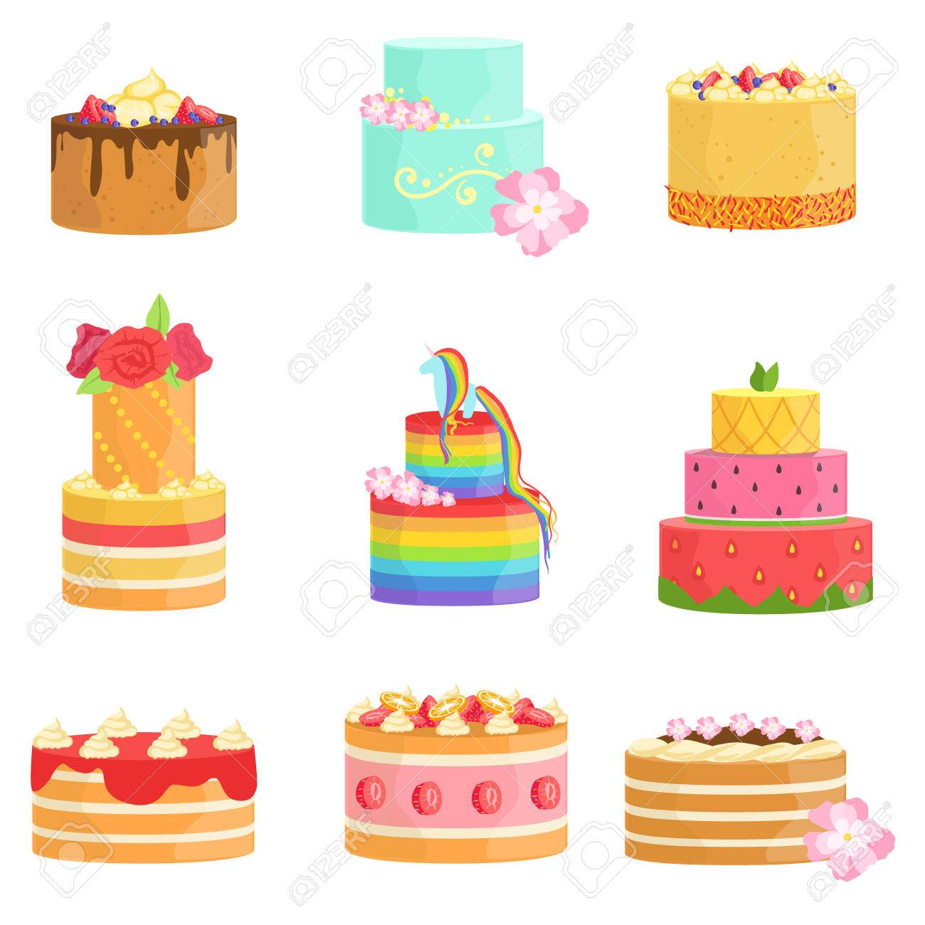 Special Occasion Decorated Cakes Assortment Bright Color Simple Vector Icons With Designer Isolated On White