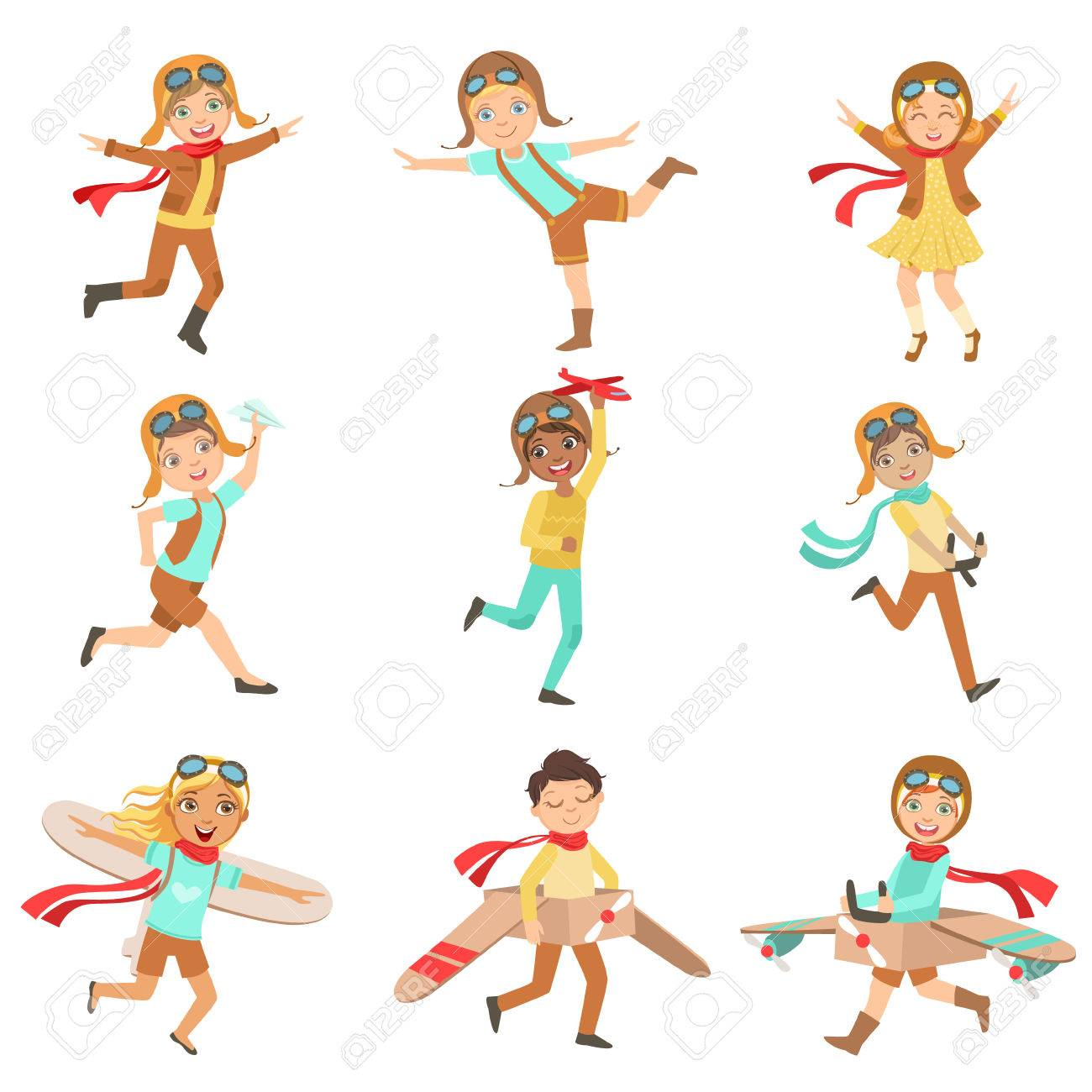 Kids Playing Dreaming To Be Pilots Set Of Bright Color Isolated Vector Drawings In Simple Cartoon