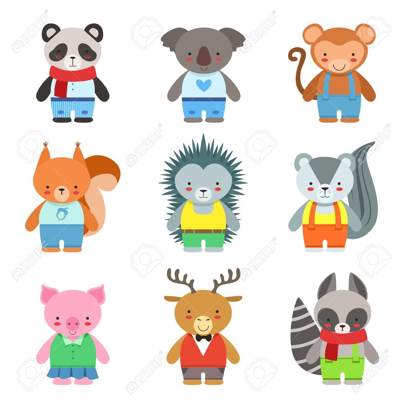 d637e7c5f92ce Animales de juguete vestido como personajes para niños Set. Infantiles de  dibujos animados lindo del