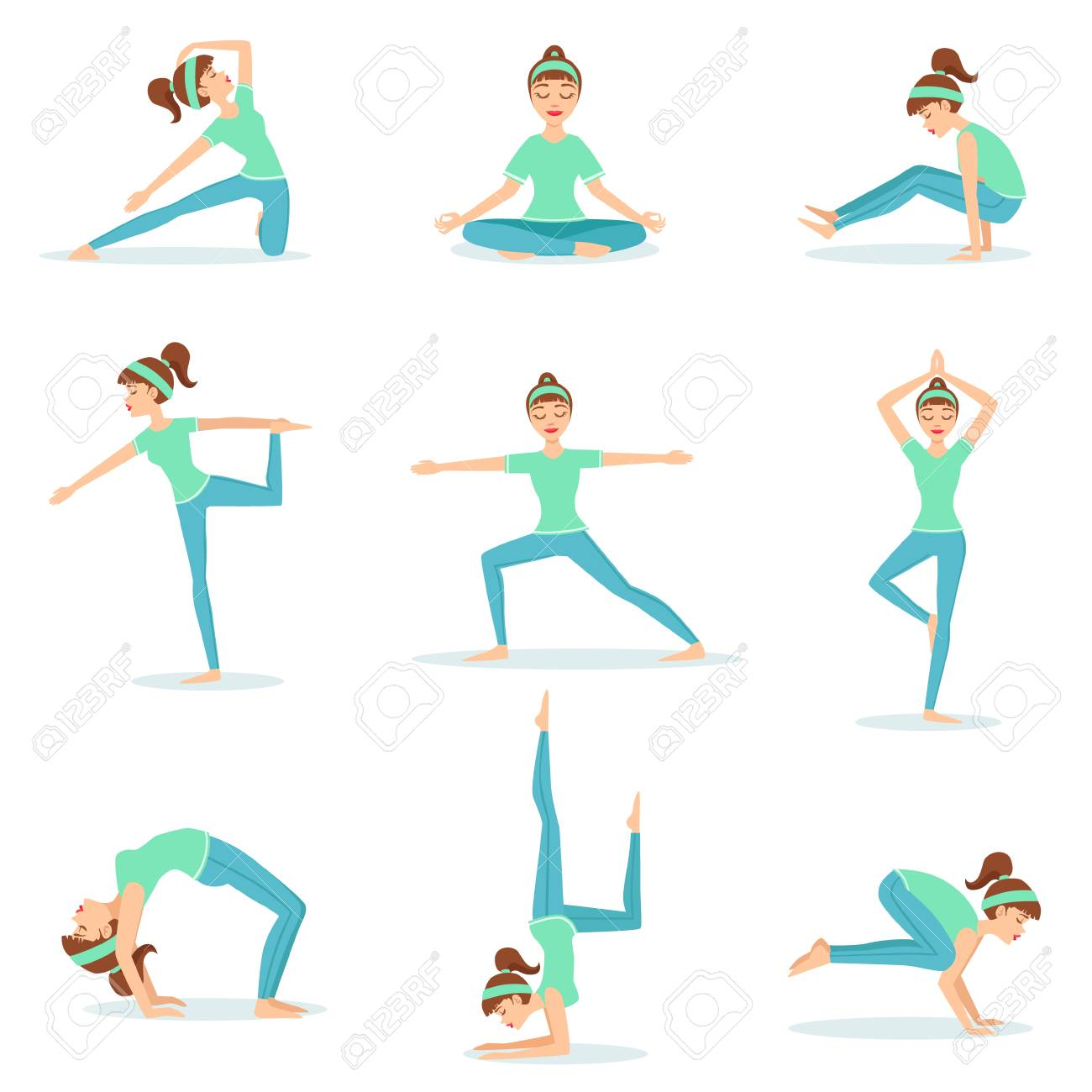 Girl In Blue Training Clothes Demonstrating Yoga Postures Set Royalty Free Cliparts Vectors And Stock Illustration Image 67199504