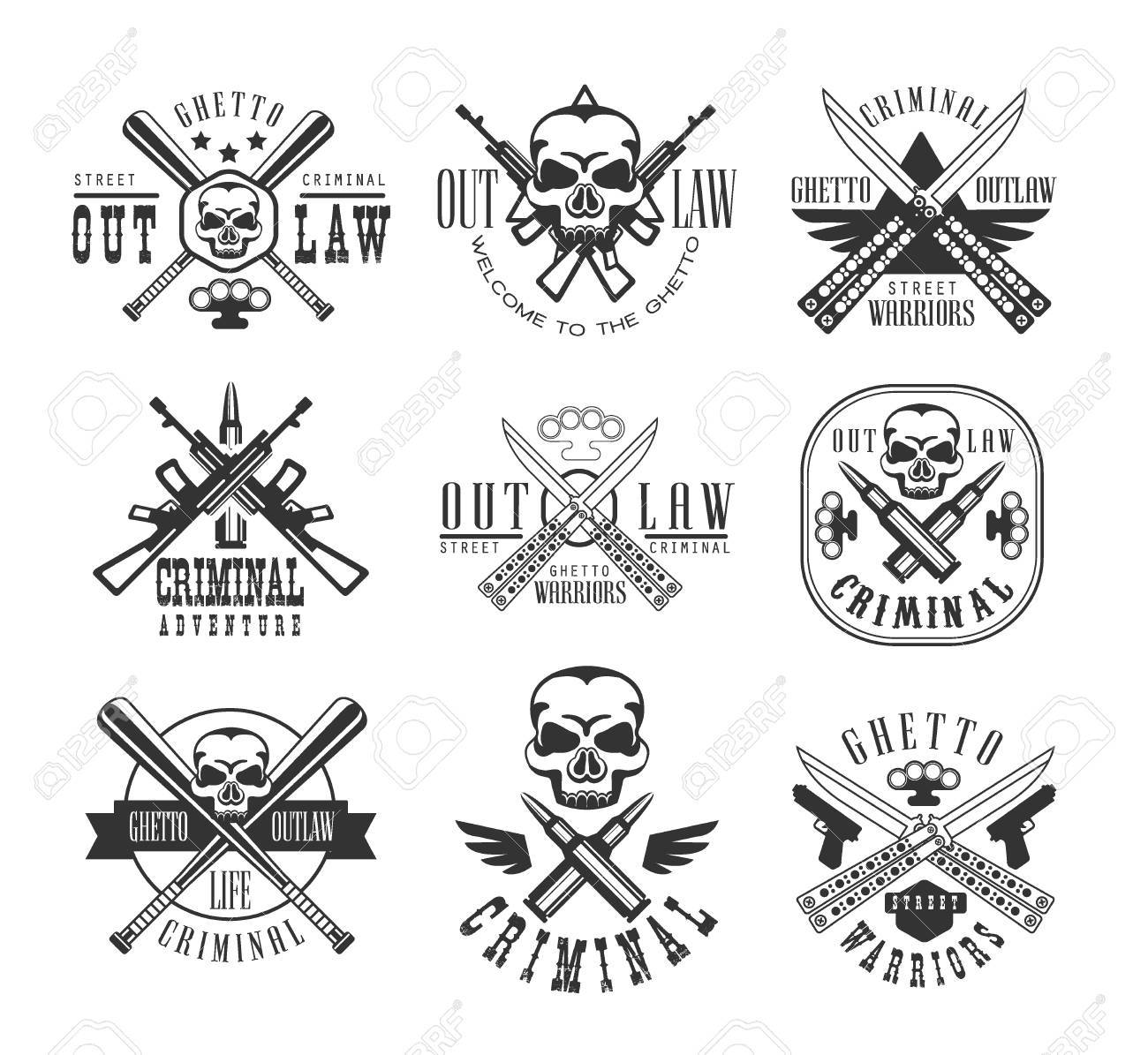 Street outlaw criminal club black and white sign design templates street outlaw criminal club black and white sign design templates with text and weapon silhouettes sciox Gallery