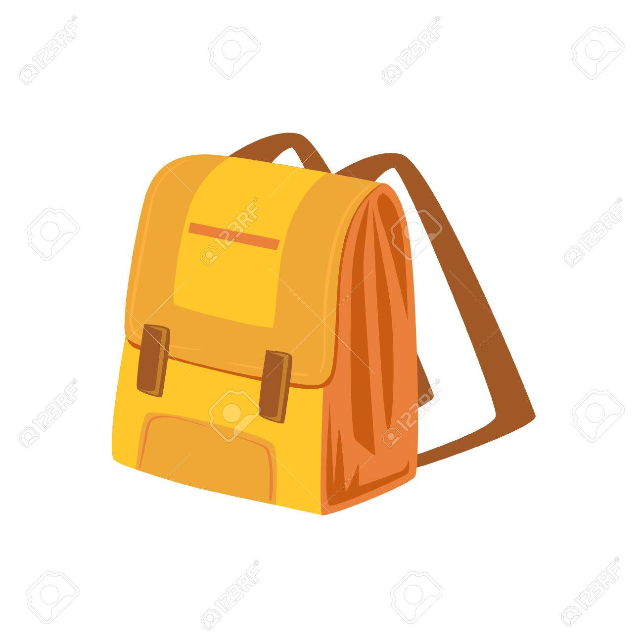 eeccdb909c0 Vector - Yellow And Beige School Backpack Item From Baggage Bag Cartoon  Collection Of Accessories. Personal Travel Luggage Piece Isolated Vector  Icon.