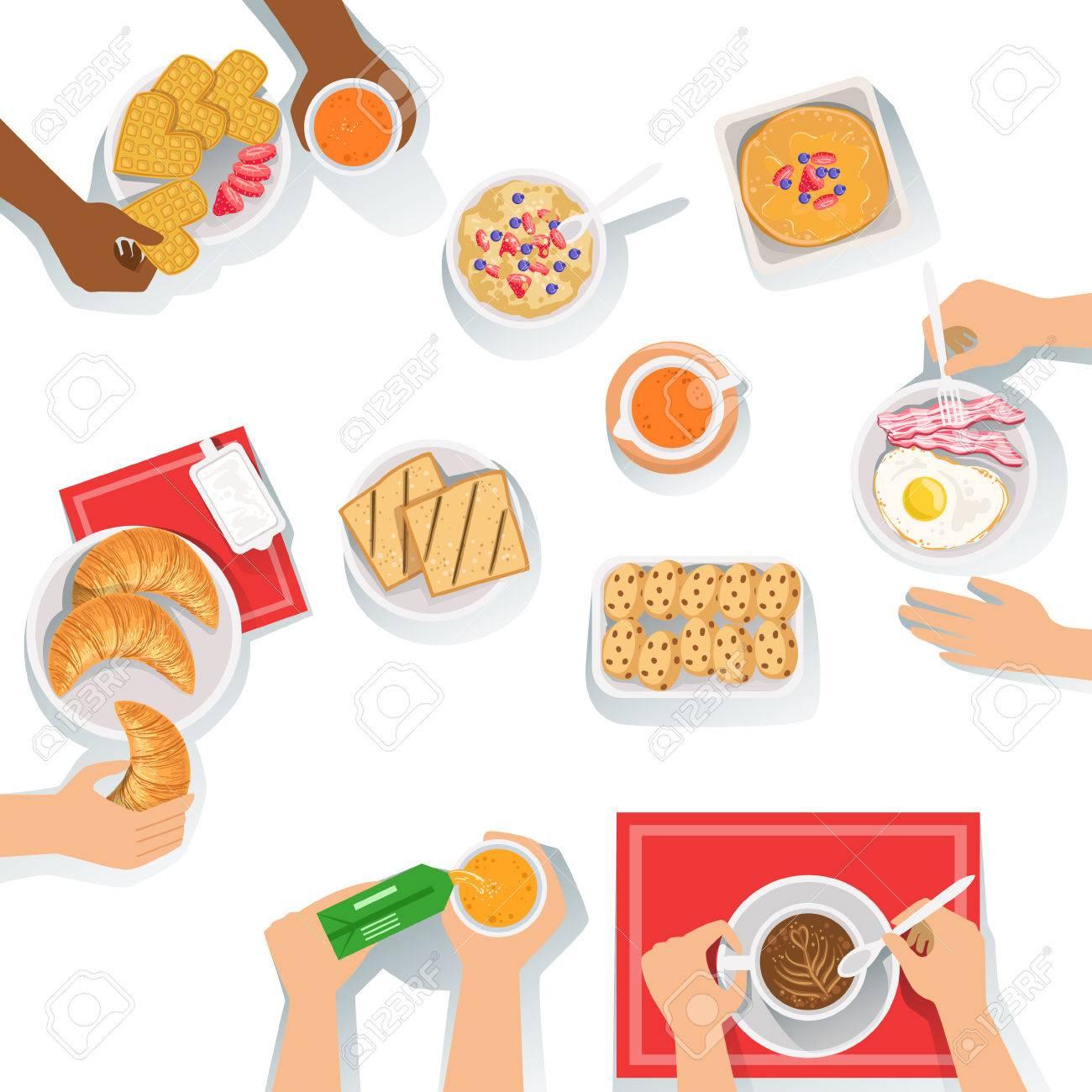 Menschen, Die Frühstücken Morgen Mahlzeit Zusammen Mit Verschiedenen ...