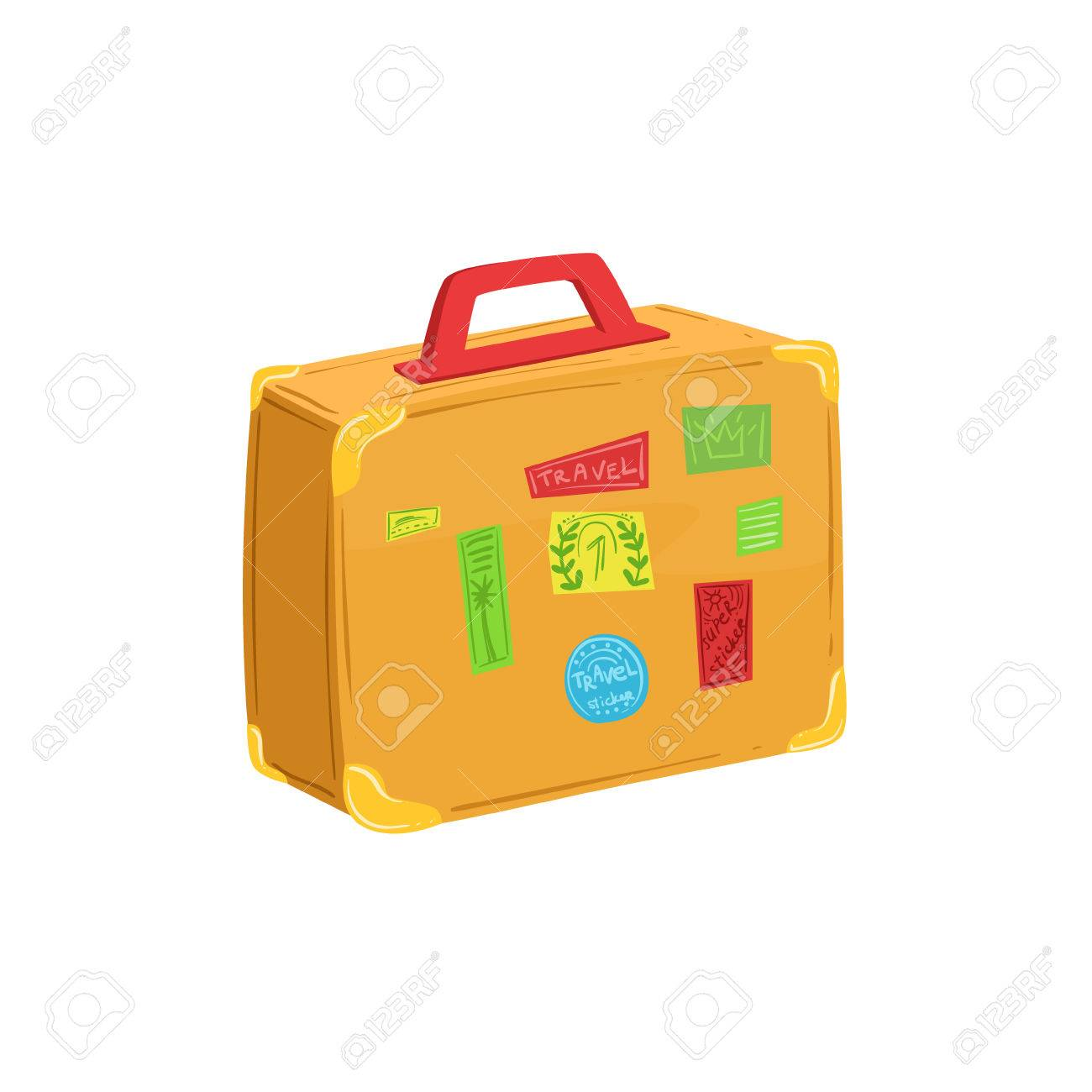 a0ad4e936 Foto de archivo - Maleta de la vendimia con pegatinas de viajes y sellos  elemento de equipaje Colección de dibujos animados Bolsa de accesorios.