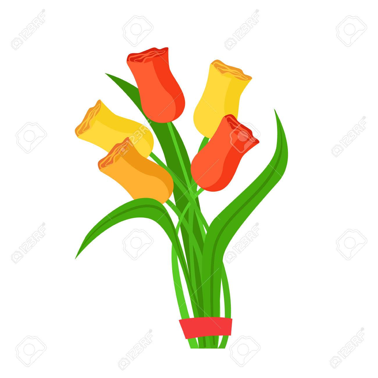 Colorful Tulips Flower Bouquet Tied With Red Ribbon, Flower Shop ...