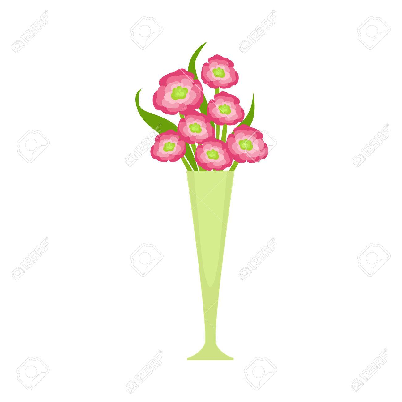 Pink Blooming Flower Bouquet In Tall Flower Vase, Flower Shop ...
