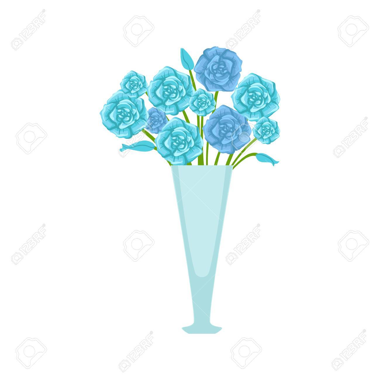 Blue Roses Flower Bouquet In Tall Flower Vase Flower Shop Decorative Royalty Free Cliparts Vectors And Stock Illustration Image 67198361