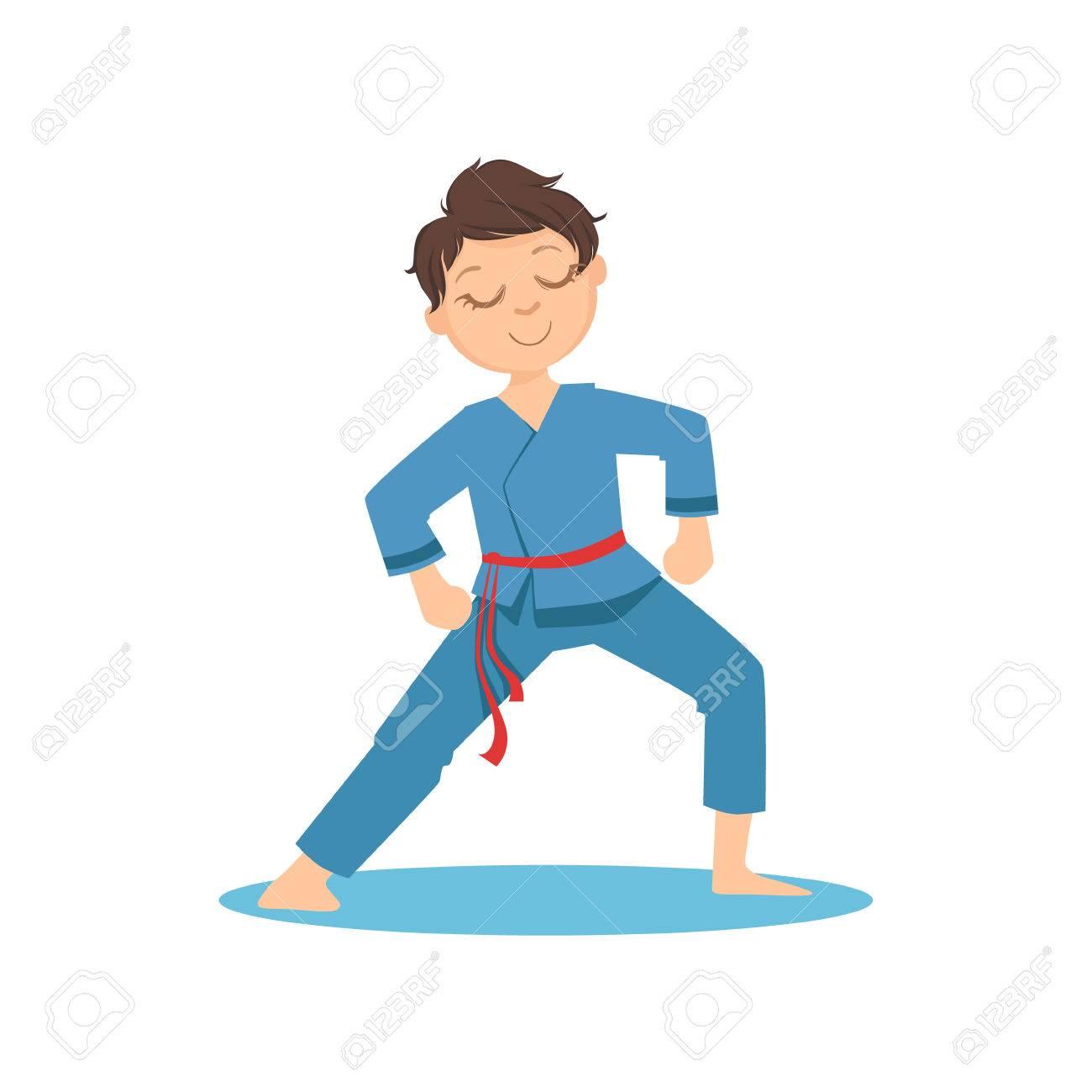 少年空手武術の青の着物で瞑想太極拳運動を行うスポーツ トレーニング