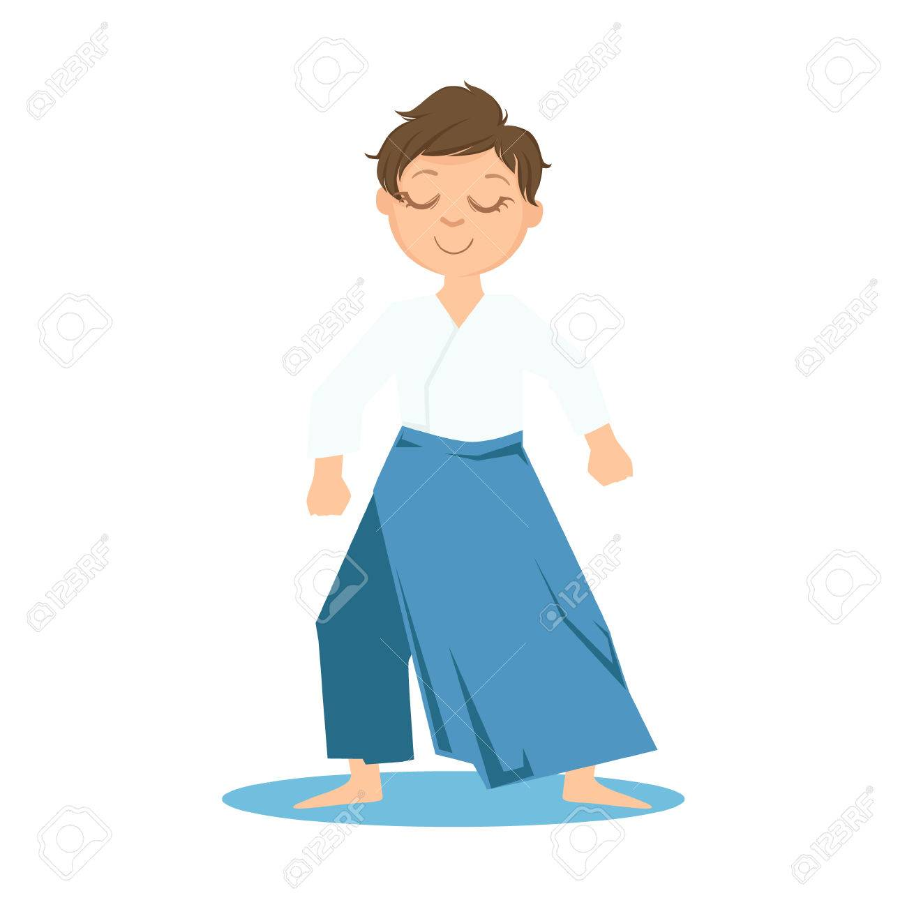 Boy In Wide Trousers Doing Zen Relaxed Stance On Karate Martial Royalty Free Cliparts Vectors And Stock Illustration Image 67198294
