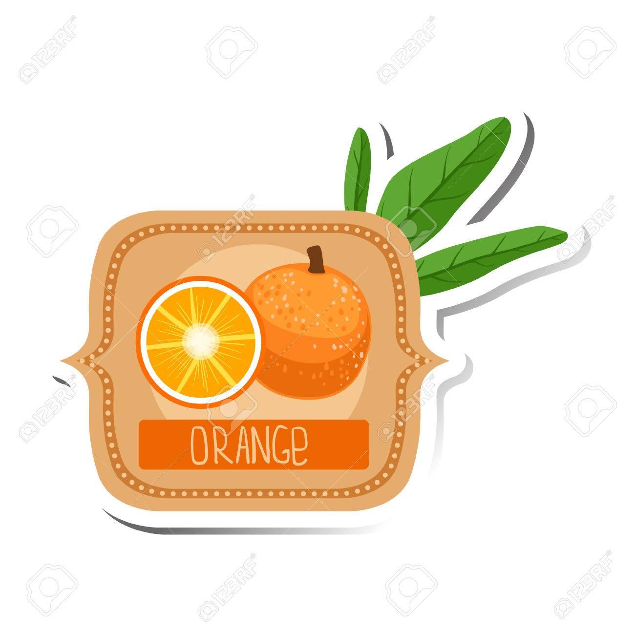 Orange Bright Color Jam Label Sticker Template In Square
