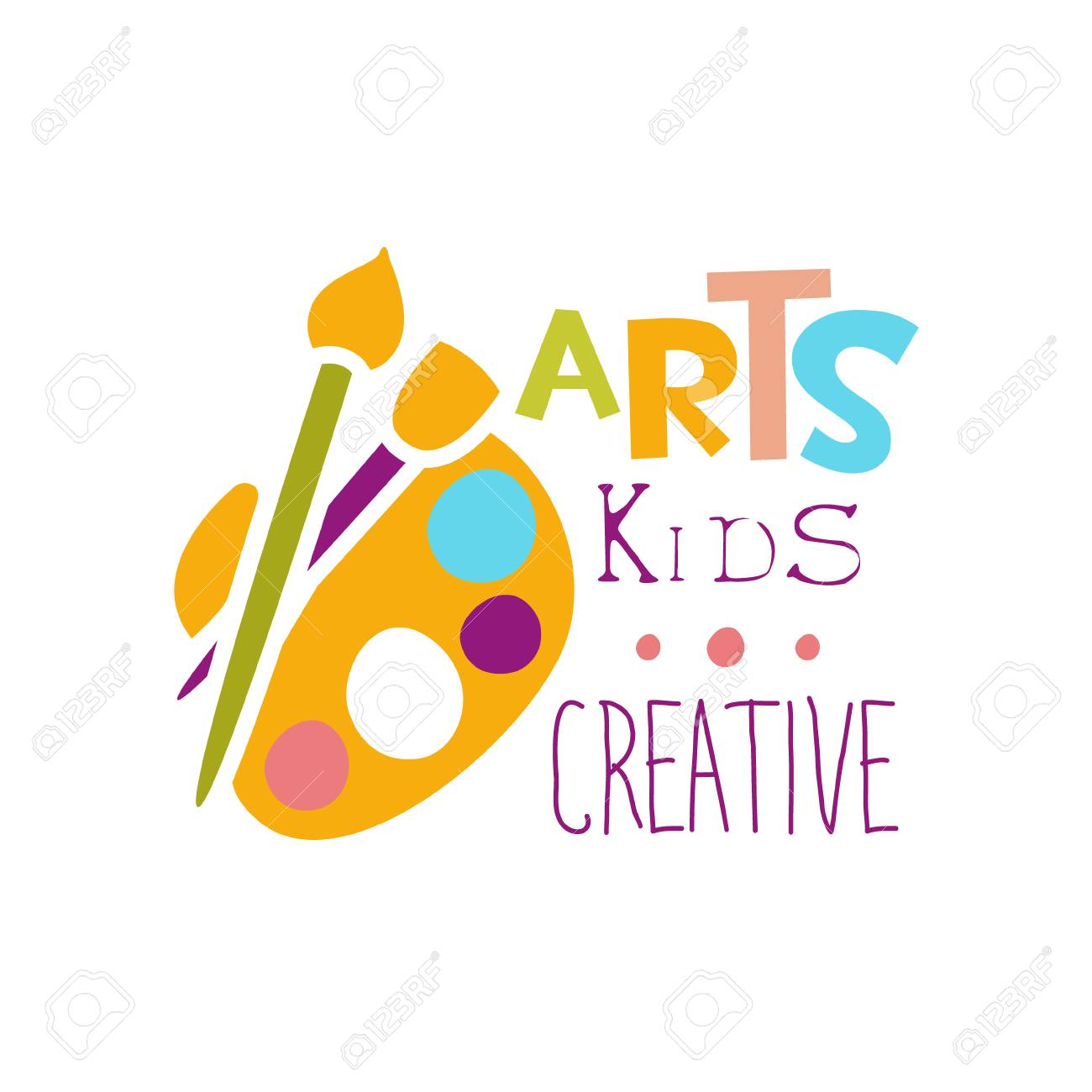 kids creative class template promotional with palette and paintbrush