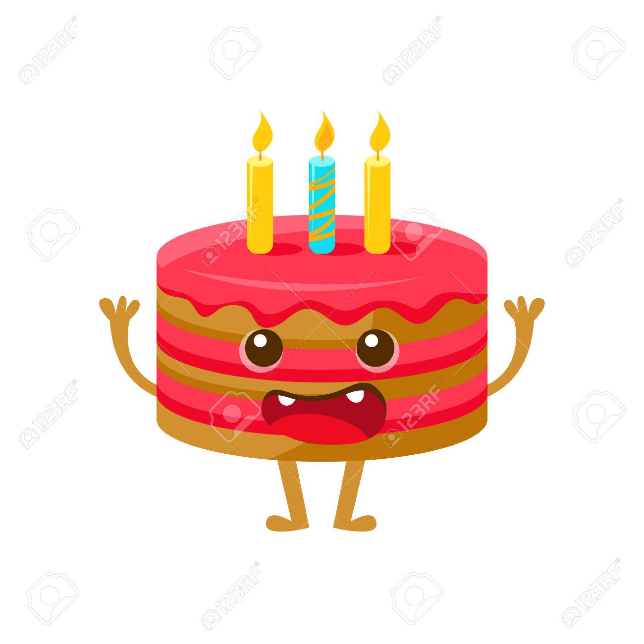 Birthday Cake WIth One Candle Happy And Celebration Party Symbol Cartoon Character Colorful