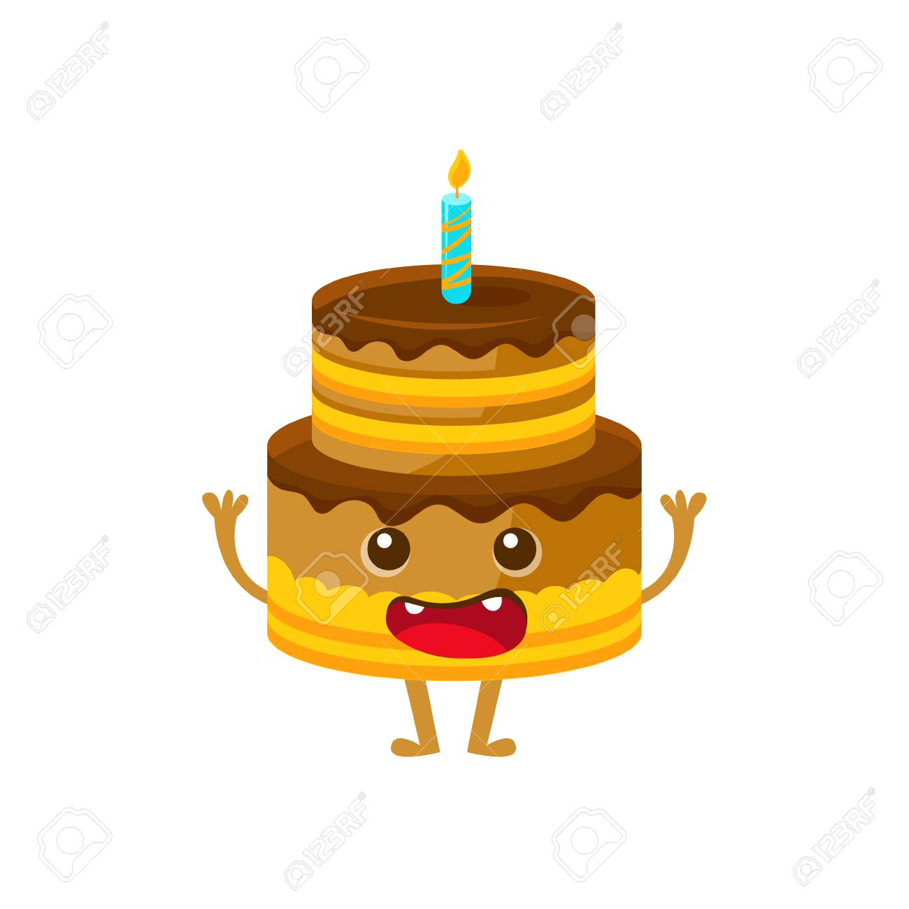 Chocolate Birthday Cake With Candle Happy And Celebration Party Symbol Cartoon Character Colorful