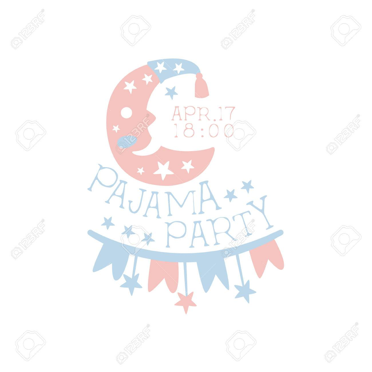 Girly Pajama Party Invitation Card Template With Crescent Inviting ...