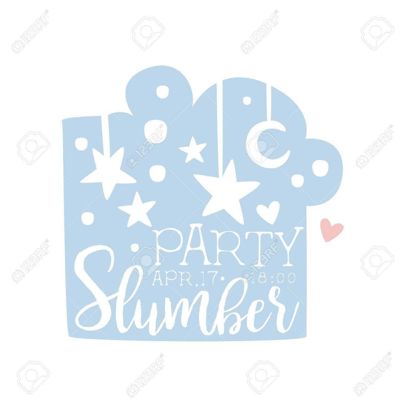 girly pajama party invitation card template with night sky inviting