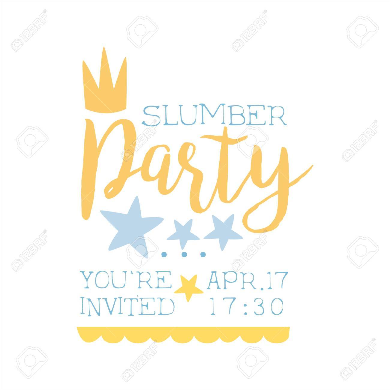 girly pajama party invitation card template with crown inviting