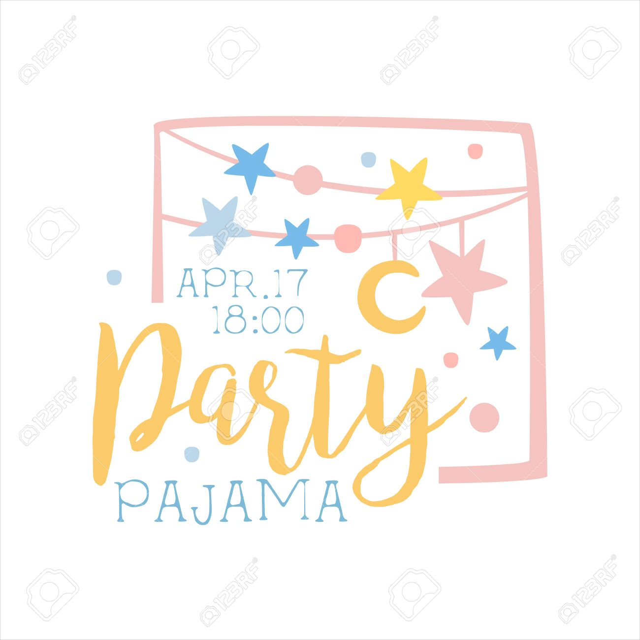 Girly Pajama Party Invitation Card Template With Garlands Inviting ...