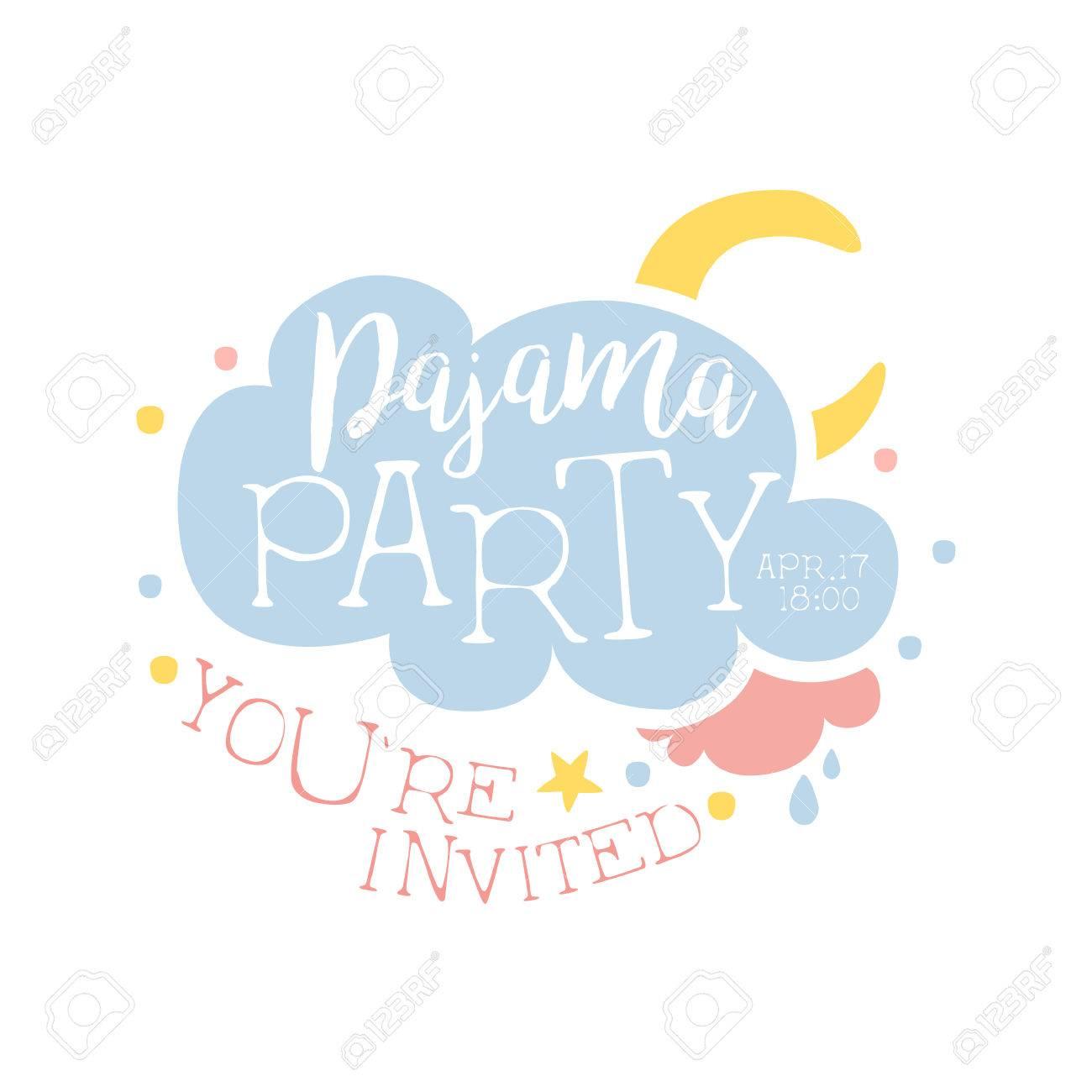 Plantilla De La Tarjeta De La Invitación Femenina De La Fiesta De Pijama Con La Nube Y La Luna De Invitación Infantil Para Los Pijamas De Los Pijamas