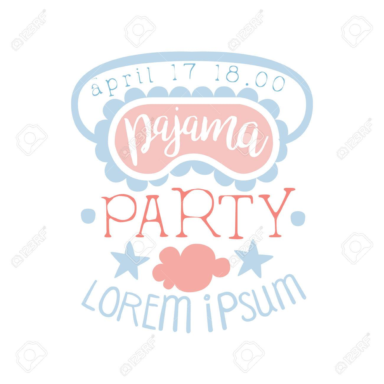 Girly Pajama Party Invitation Card Template With Sleeping Mask ...