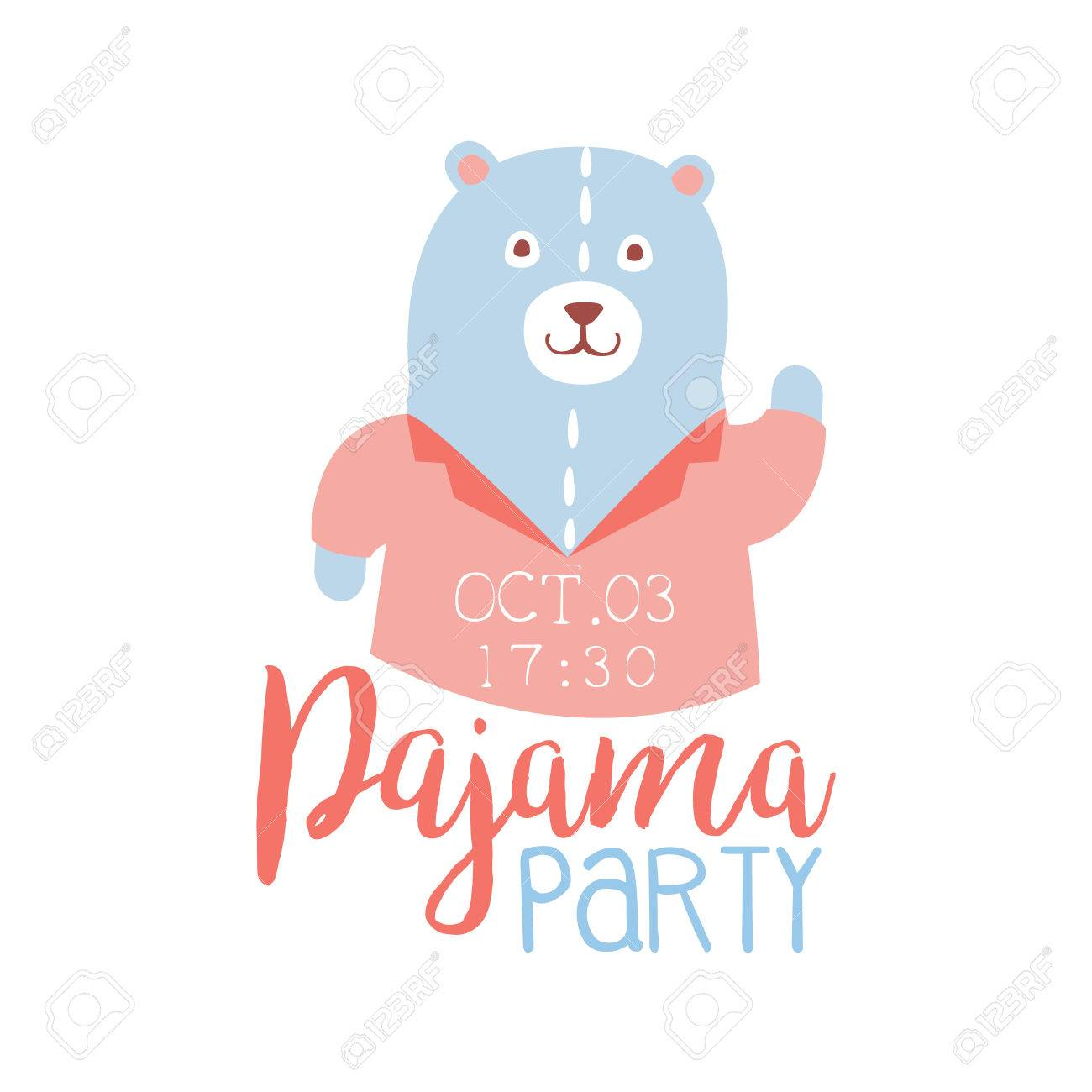 Girly Pajama Party Invitation Card Template With Teddy Bear ...