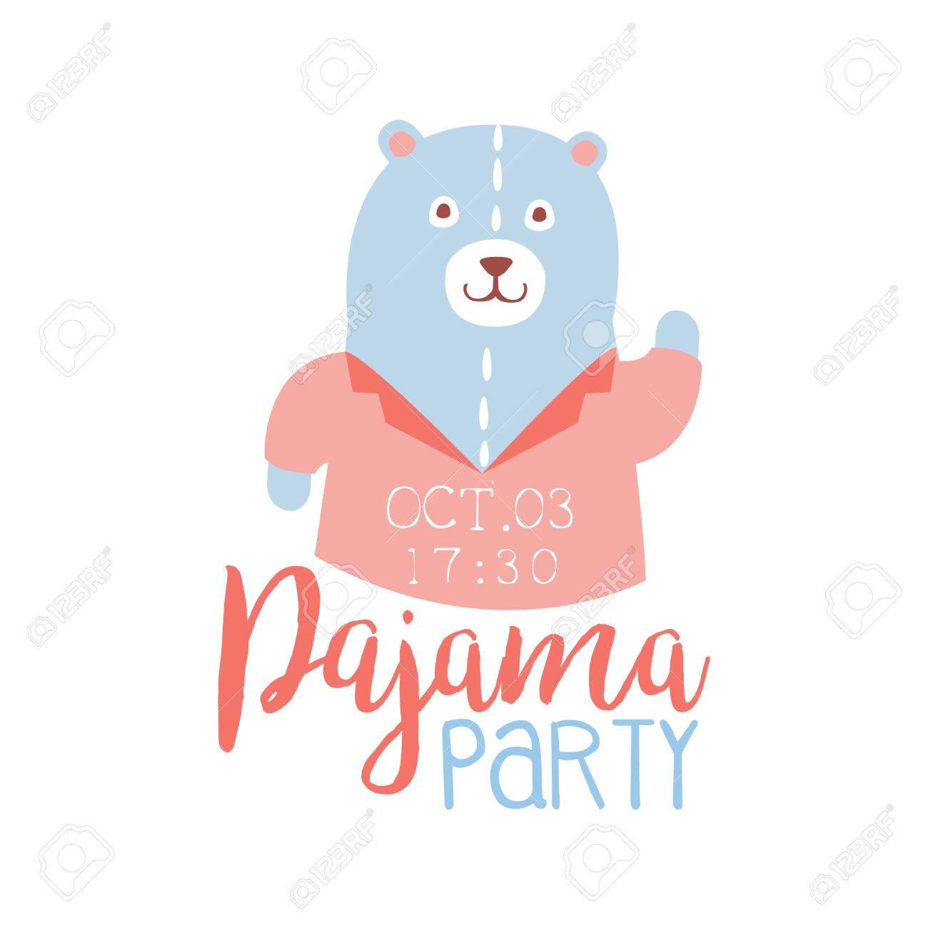 Girly Pyjama-Party-Einladungs-Karten-Schablone Mit Teddybären Kids ...