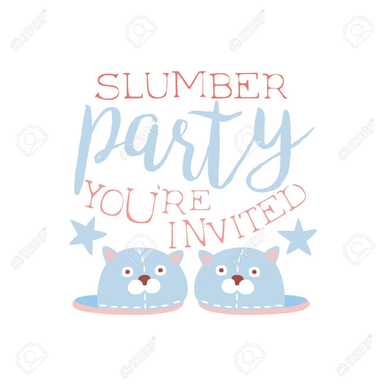 Girly Pajama Party Invitation Card Template With Pair Of Slippers ...