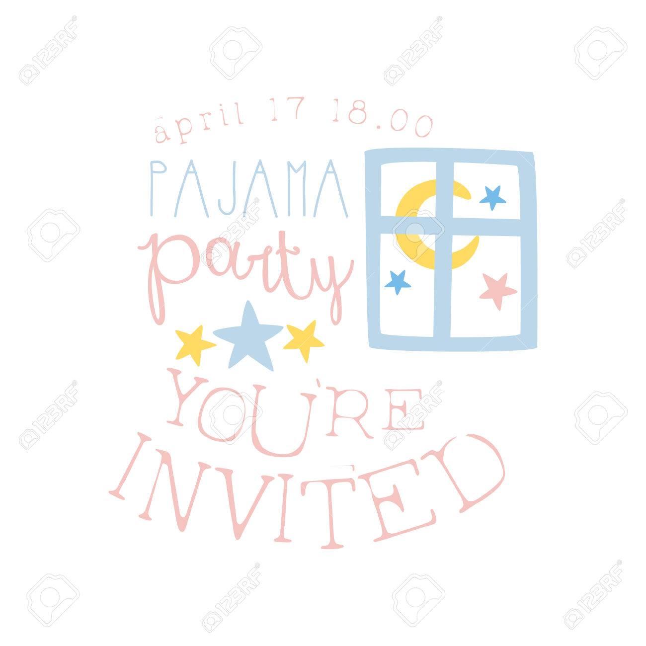 7c728160d3 Plantilla De La Tarjeta De La Invitación Femenina De La Fiesta De Pijama  Con La Ventana Noche Invitar A Los Niños Para Los Pijamas De Los Pijamas  Pijama ...