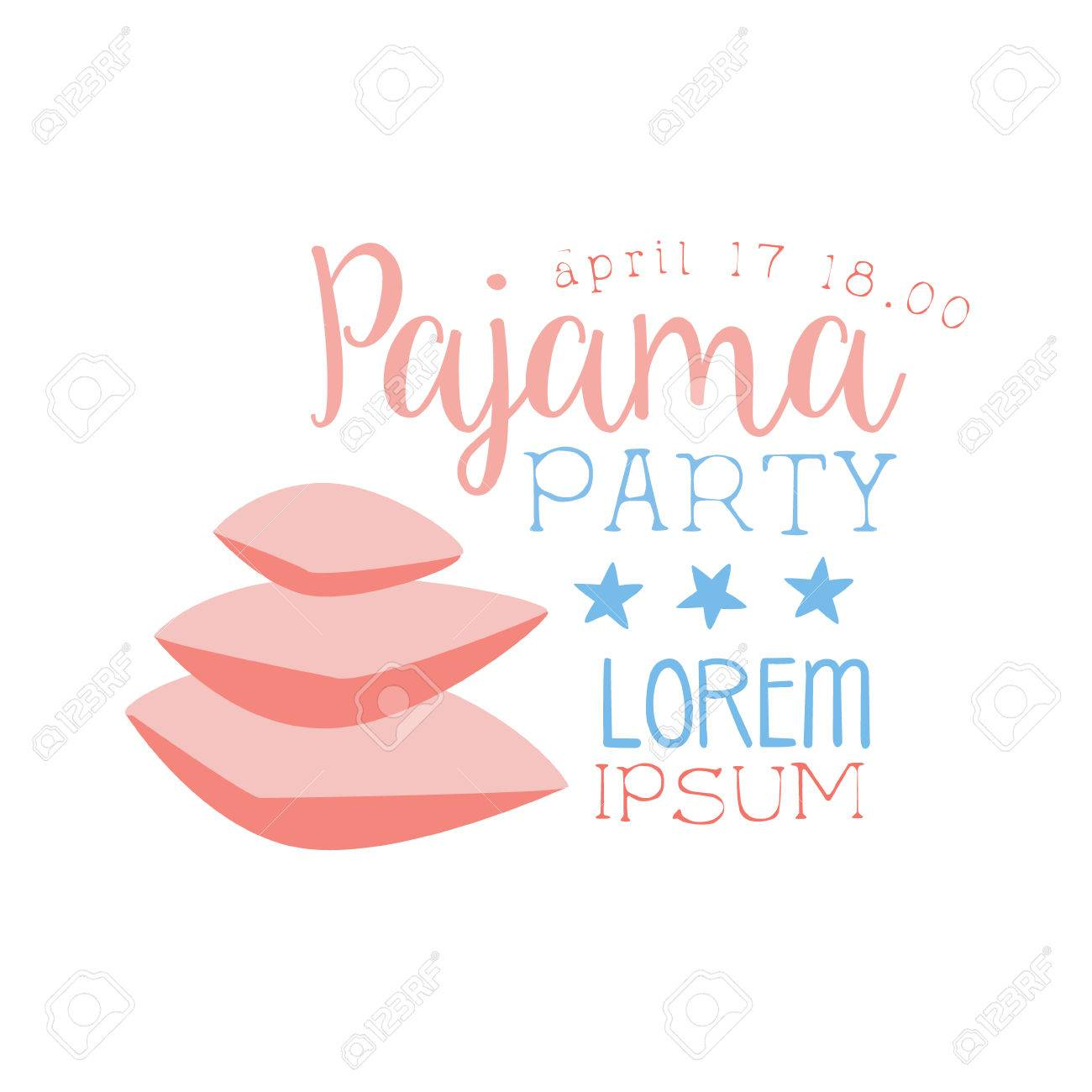 Girly Pajama Party Invitation Card Template With Pile Of Pillows ...