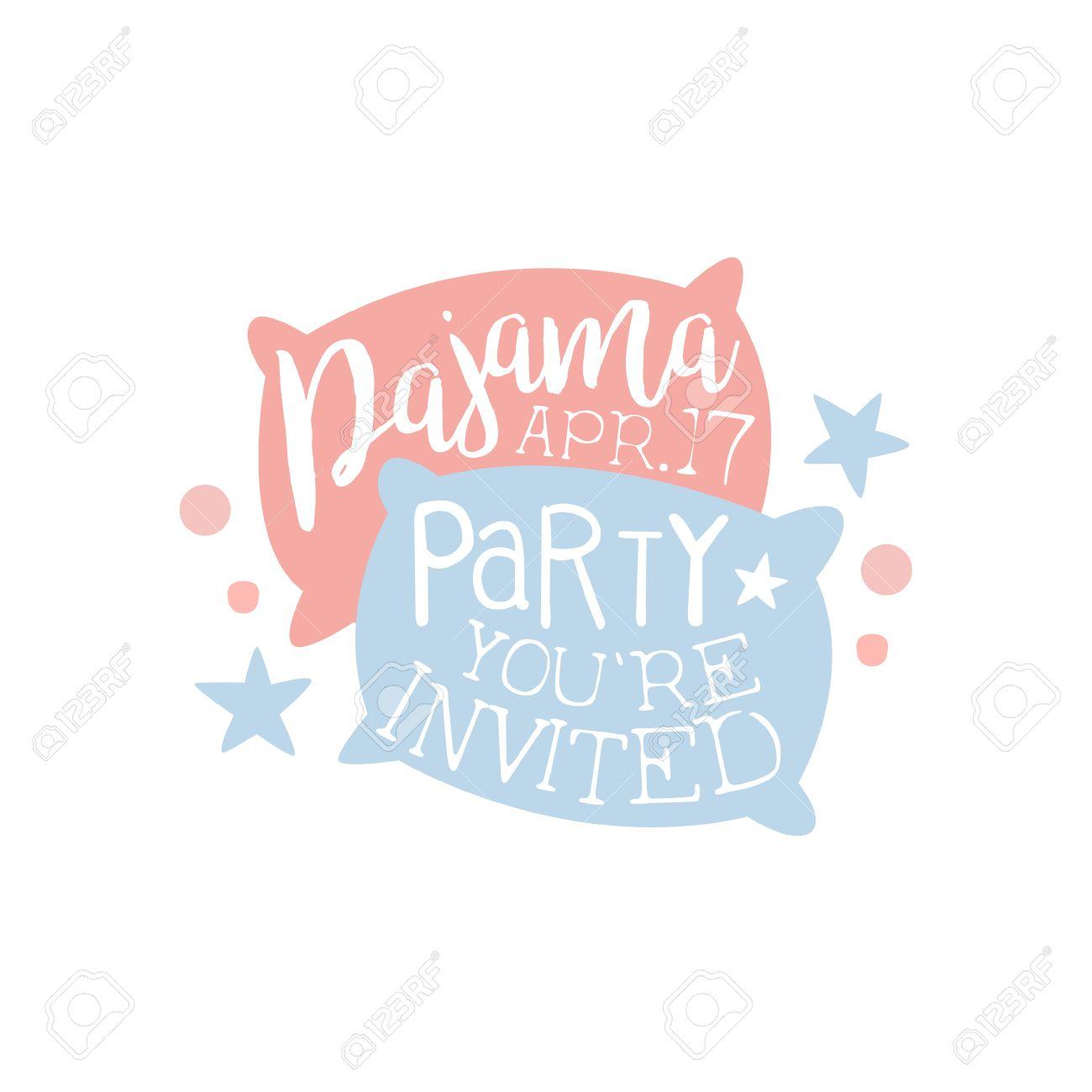 Plantilla De La Tarjeta De La Invitación Femenina De La Fiesta De Pijama Con Dos Almohadas De Invitación Infantil Para Los Pijamas De Los Pijamas