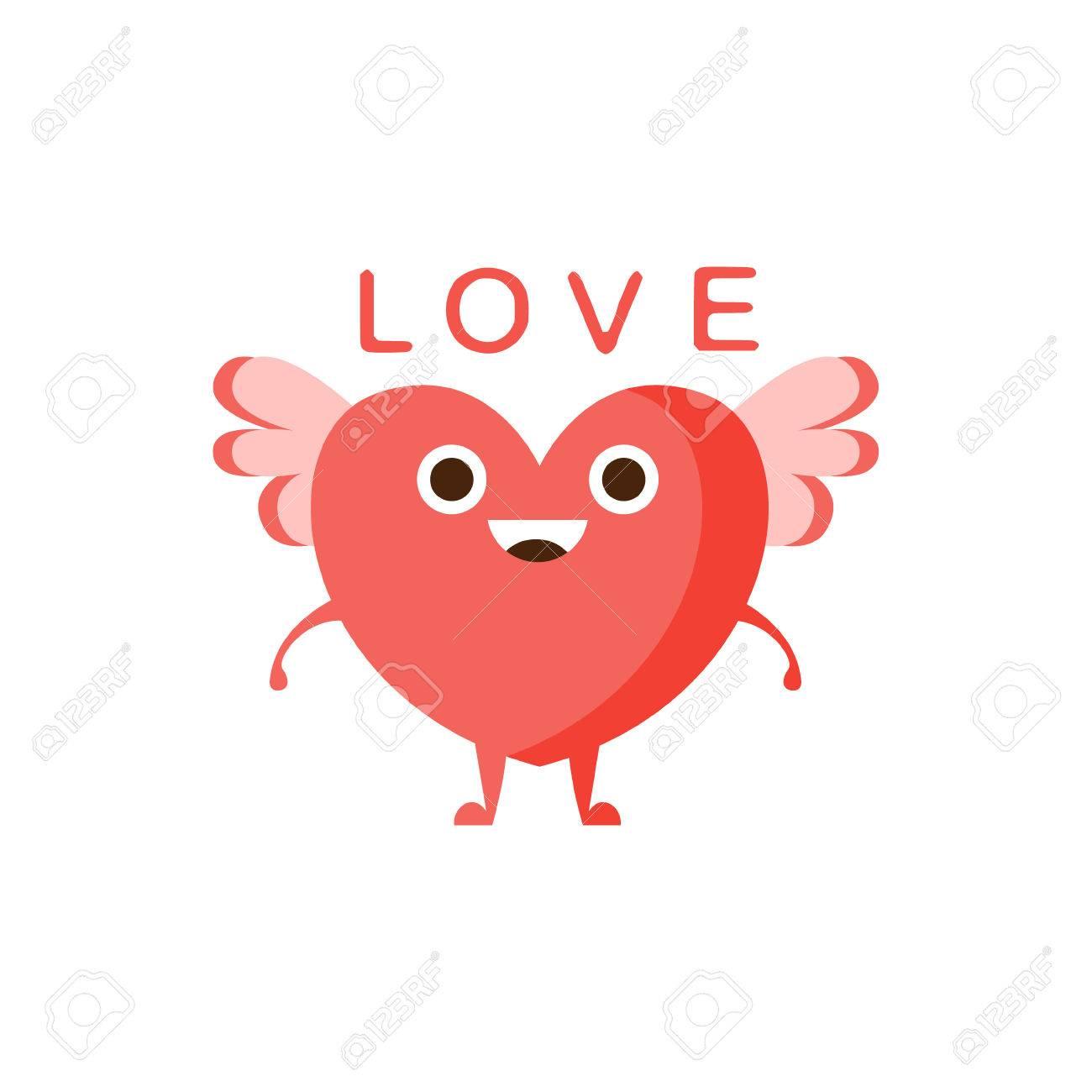 Amor Y Corazón Con Alas La Palabra Y La Ilustración Correspondiente