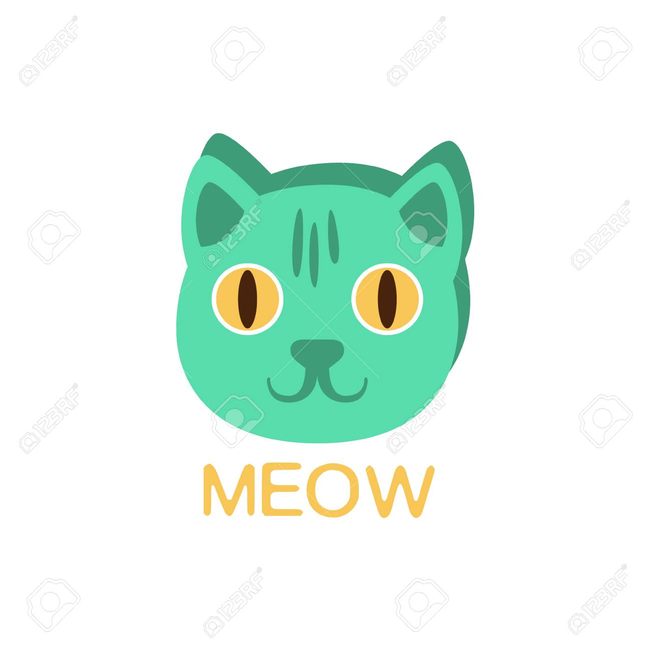 Meow And Cat Face Word And Corresponding Illustration Cartoon