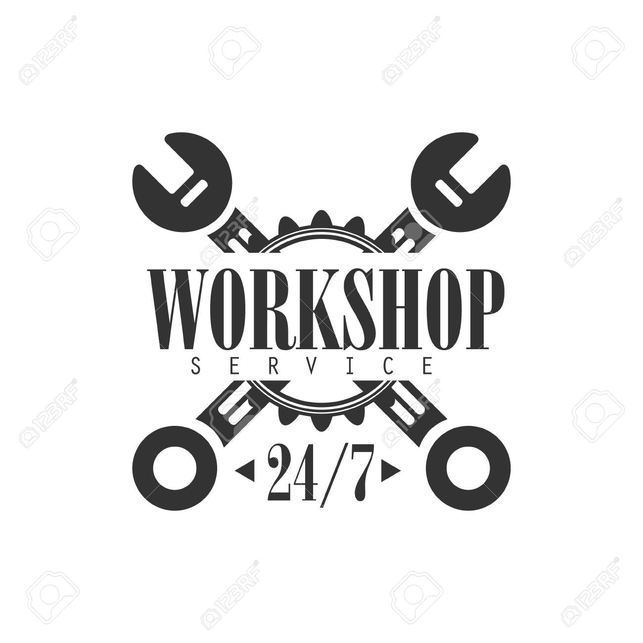 Round The Clock Car Repair Workshop Black And White Label Design Royalty Free Cliparts Vectors And Stock Illustration Image 69735616