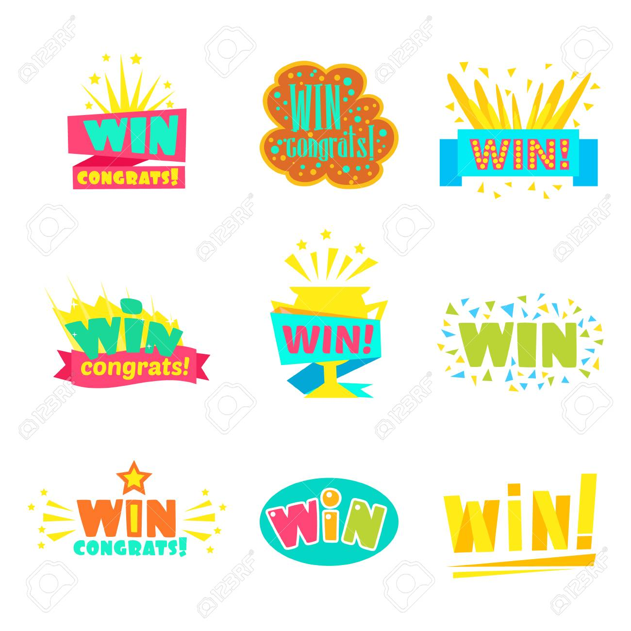 Win Congratulations Stickers Collection Of Comic Designs For