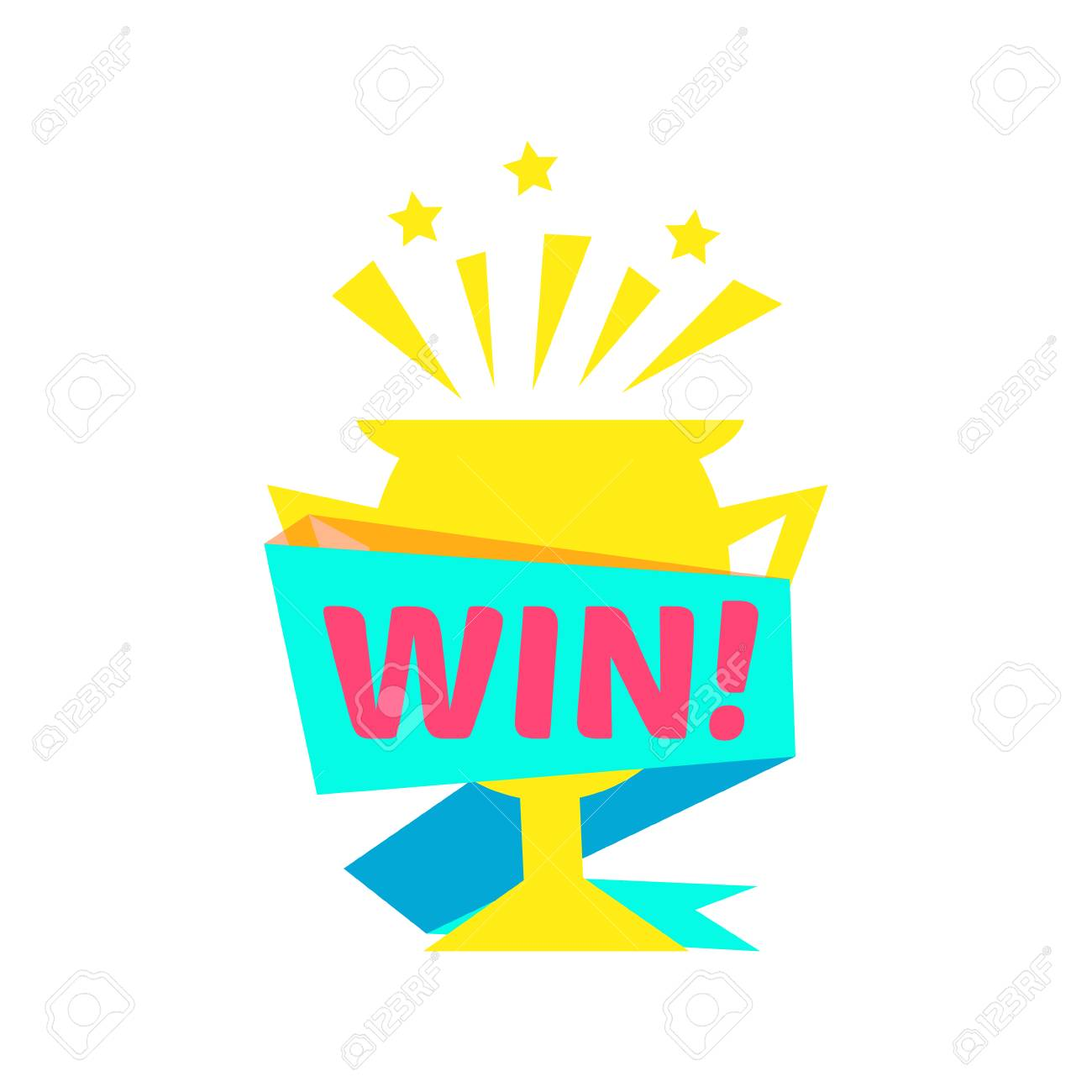 Win Congratulations Sticker With Golden Cup Design Template For