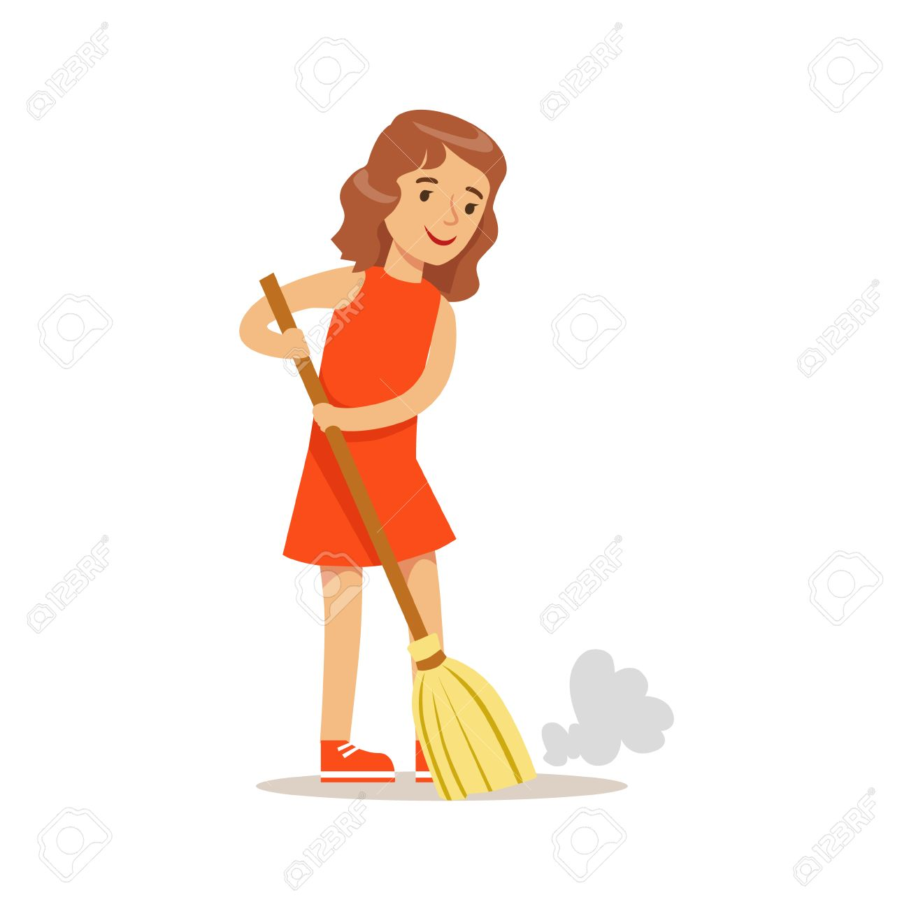 girl sweeping the floor with the broom smiling cartoon kid character stock photo picture and royalty free image image 68492896 girl sweeping the floor with the broom smiling cartoon kid character